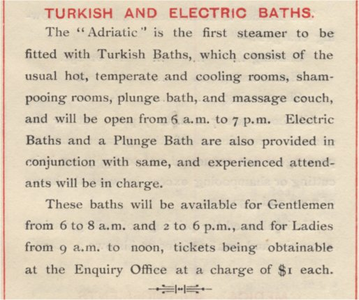 Adriatic First Class Turkish Baths Instruction 1907
