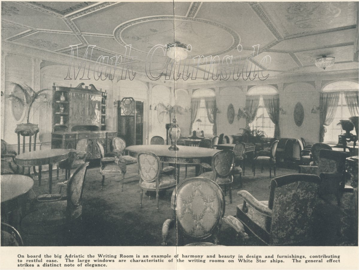 mark chirnside s reception room olympic titanic britannic above adriatic s drawing room was situated on the boat deck unlike her sister baltic s which was on the deck below the large lounge occupied the front of