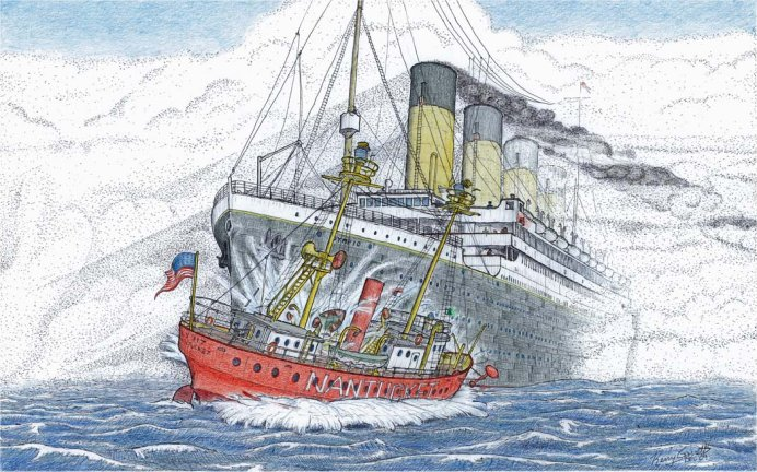 RMS Olympic-NantucketLightship 1934 by Kerry Garrett