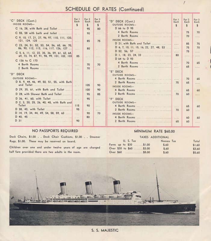 rms majestic cruise 1935 - fares